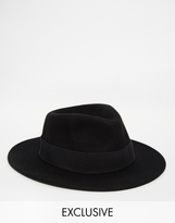 Reclaimed Vintage Wool Fedora With Feather Detail - Black