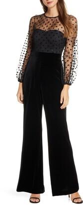 Eliza J Flocked Dot Mesh & Velvet Long Sleeve Jumpsuit