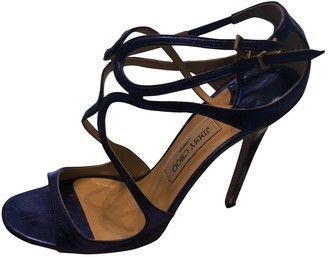 Jimmy Choo Lance Navy Leather Sandals