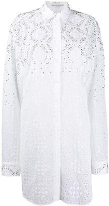 Ermanno Scervino Embroidered Style Studded Shirt Dress