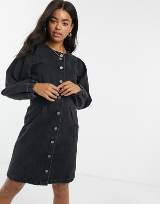 Pieces denim mini dress with puffed sleeves and button through in black