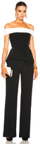 Roland Mouret Danielson Stretch Crepe Jumpsuit in Black,White.