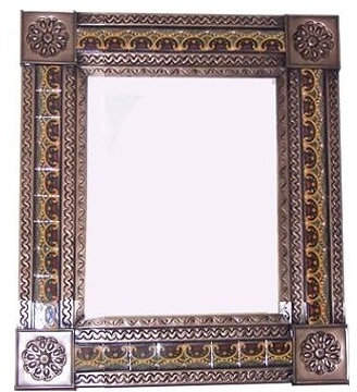 Fine Crafts & Imports Medium Brown Greca C Mexican Tile Mirror