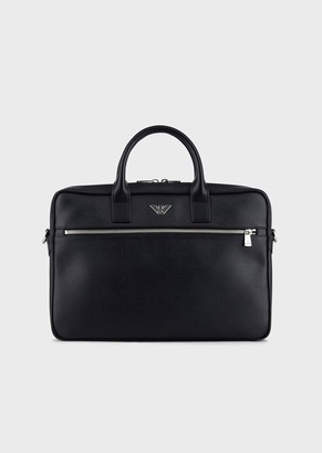 Emporio Armani Small Satchel With Front Pocket And Metal Logo