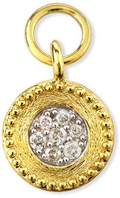 Jude Frances 18K Petite Pave Diamond Brushed Earring Charm, Single