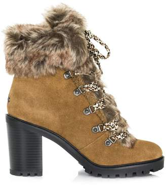 GUESS Galway Faux Fur-Trim Suede Hiking Boots