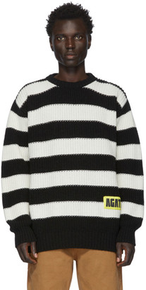 Vyner Articles Black and White Wool Stripy Sweater