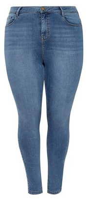 Dorothy Perkins Womens Dp Curve Blue Mid Wash Shape And Lift Denim Jeans, Blue