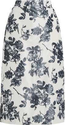 Brock Collection Stella Floral Cotton Pencil Skirt