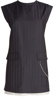 Acne Studios Pinstripe Wool Chain Mini Dress