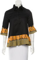 Suno Printed Button-Up Blouse