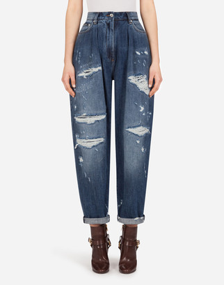 Dolce & Gabbana Balloon Jeans In Deep Blue Denim With Rips