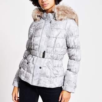 River Island Womens Grey camo jacquard belted padded jacket
