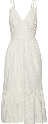 Prabal Gurung Gathered Broderie Anglaise Cotton Midi Dress