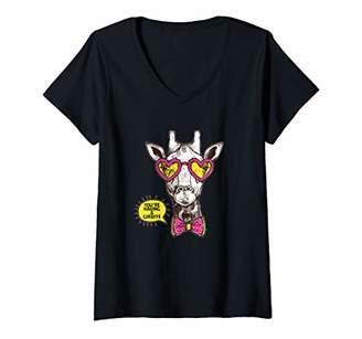 Womens Funny Cockney Rhyming Slang - You're having a Giraffe V-Neck T-Shirt