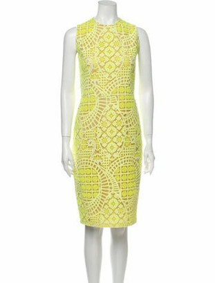 Alexis Lace Pattern Knee-Length Dress Yellow
