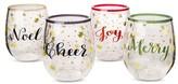 Threshold Holiday Sayings Stemless Plastic Wine Glass Set of 4