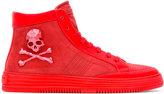 Philipp Plein skull and crossbones hi-top sneakers - men - Calf Leather/Leather/rubber - 39.5