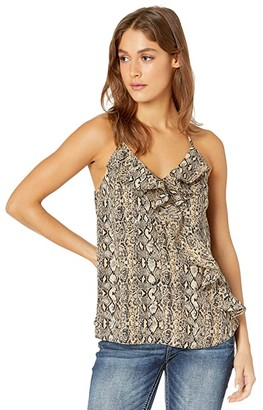 Miss Me Animal Print Ruffle Cami (Multi Beige) Women's Clothing