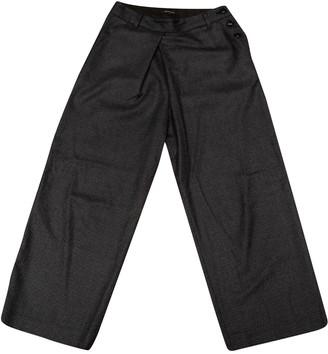 Pas De Calais Grey Wool Trousers for Women