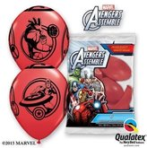 "The Avengers Marvels Avengers Assemble Red 12"" Qualatex Latex Balloons x 6"