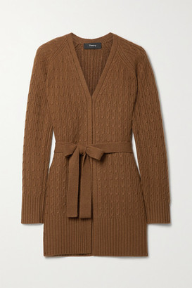 Theory Malinka Belted Cable-knit Cashmere Cardigan - Brown