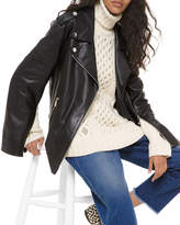 Michael Kors Slit-Sleeve Leather Moto Jacket