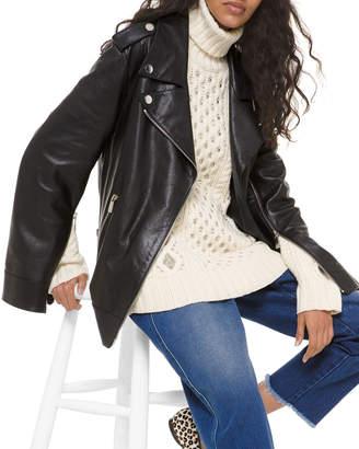 Michael Kors Slit-Sleeve Leather Moto Jacket
