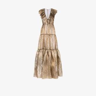 Halpern Womens Gold Ruffled V-neck Tiered Gown