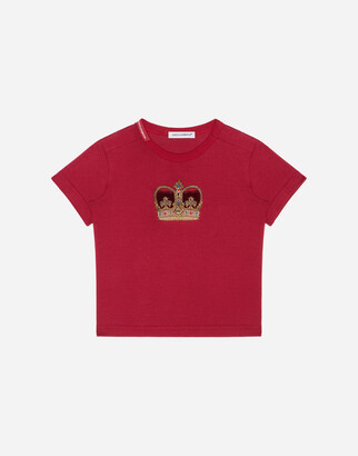 Dolce & Gabbana Jersey T-Shirt With Crown Patch
