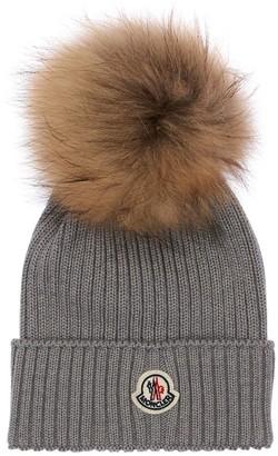 Moncler Wool Knit Hat W/fur Pompom