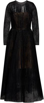 Oscar de la Renta Bead-Embellished Lace Cocktail Dress