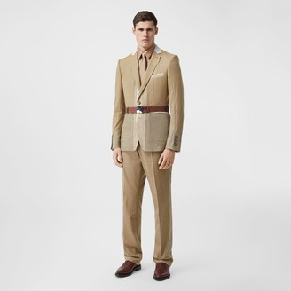 Burberry English Fit Wool Cashmere and Linen Tailored Trousers