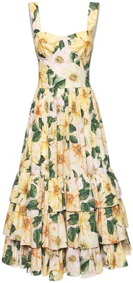 Dolce & Gabbana Camelia Print Cotton Poplin Dress