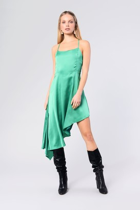 Glamorous Womens **Asymmetric Satin Dress By Green