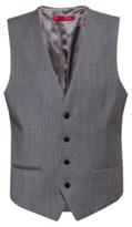 HUGO BOSS - Slim Fit Waistcoat In Virgin Wool Flannel - Grey