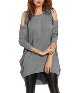 ZJCT Cold Shoulder High Low T shirt Dress Loose Long Sleeve Long Tees Casual Tunic M