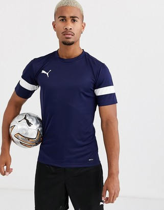 Puma Football short sleeve t-shirt in navy with white panels exclusive to ASOS