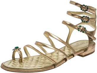 Chanel Gold Leather Embellished Toe Ring Gladiator Flat Sandals Size 39