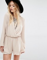 Honey Punch Wrap Front Drapey Romper With Frill Hem