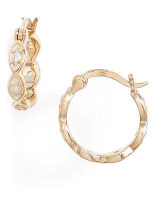 Knotty Crystal Braided Mini Hoop Earrings