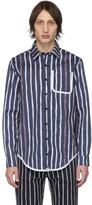 Daniel W. Fletcher Navy Painted Stripe Shirt