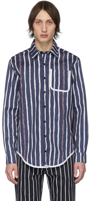 Daniel W. Fletcher Navy Painted Stripe Shirt