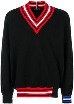 Tommy Hilfiger contrast V-neck jumper