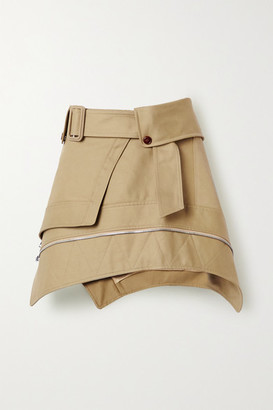 Alexander Wang Belted Cotton-blend Gabardine Mini Skirt - Sand