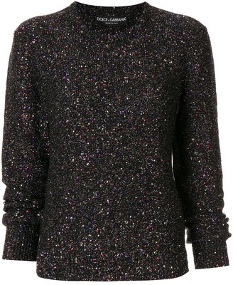 Dolce & Gabbana metallized sequin-embellished jumper