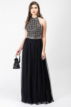 Gatsbylady London Selena Drop Waist Halter Neck Maxi Dress in Black Silver