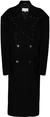 Maison Margiela Stitch Detail Oversized Wool Coat