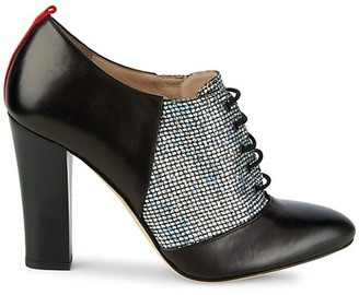 Sarah Jessica Parker Chaucer Leather & Woven Lace-Up Heels