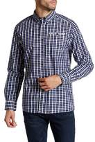 Kenneth Cole New York Long Sleeve Button Down Collar Check Modern Fit Shirt